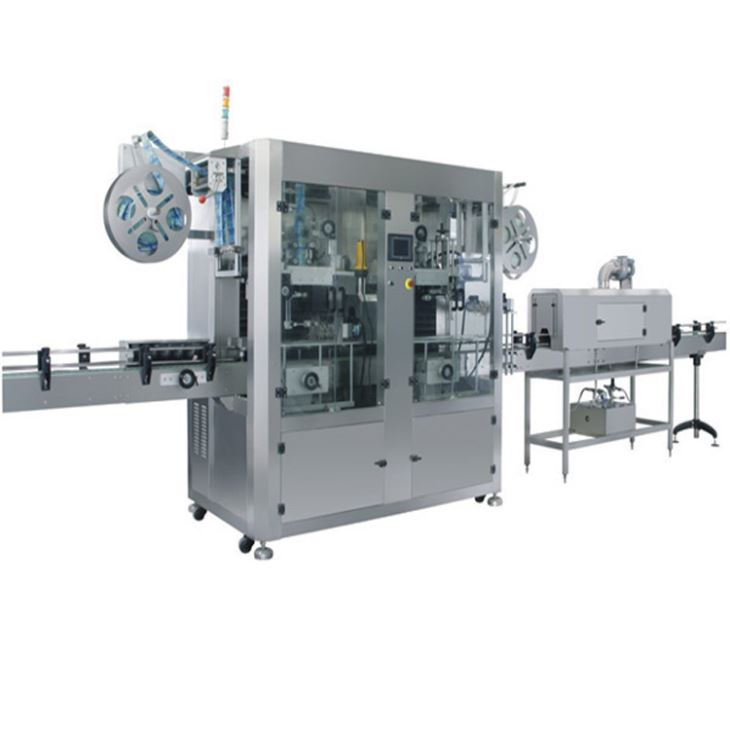 Otomatis Double Head Heat Label PVC Shrink Sleeve Labeling Machine