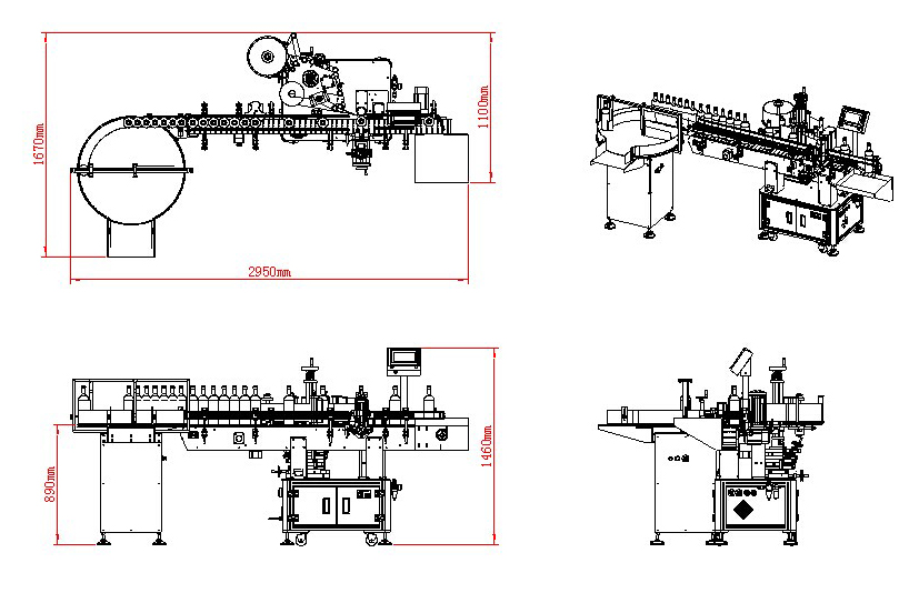 Detail Mesin Pelabelan Label Transparan Anggur Merah Vertikal Otomatis